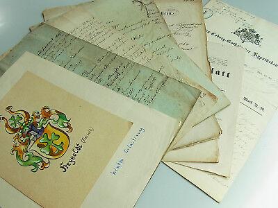9 Dokumente Familie FREYSOLDT ab 1843 // Verträge, Wappen... // Pößneck, Könitz