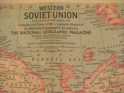 Vintage 1959 National Geographic Map of  Western Soviet Union