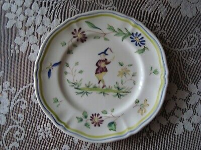 Longchamp Moustiers Bread and Butter Plate France Hand Painted 6 3/8