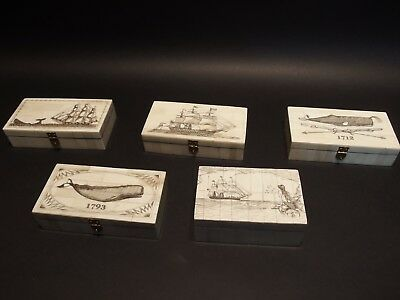Antique Style Whale Chase Scrimshaw Etched Bone /& Wood Trinket Stamp Jewelry Box