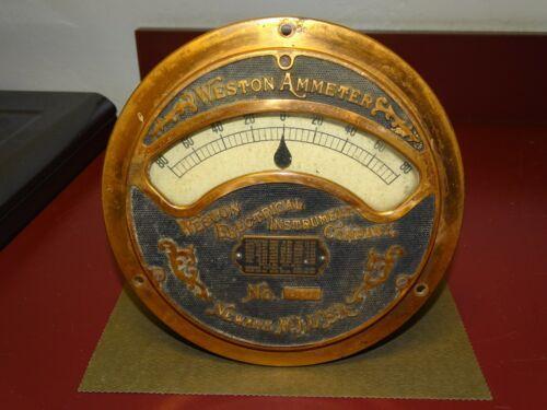 Weston Large Vintage Copper Front Ammeter, Cast Iron, Steampunk