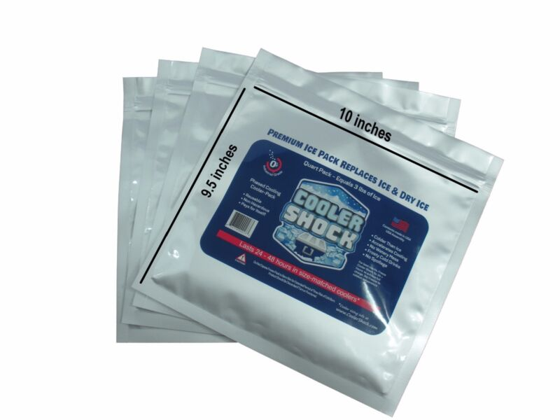 Cooler Shock Mid Size 4 Pack  Ice Packs - Replaces Ice, You Fill, Seal and Save!