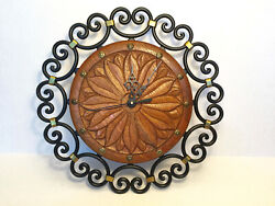 VTG Carved Danish Oak SUNBURST FACE Wrought Iron Wall Clock NEW QUARTZ MOVEMENT