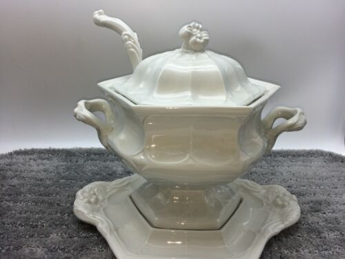 Red Cliff Ironstone Hexigon Shaped Soup Tureen w/ Lid & Ladle Flower Pattern