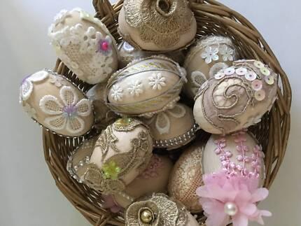 Handmade wooden Easter eggs