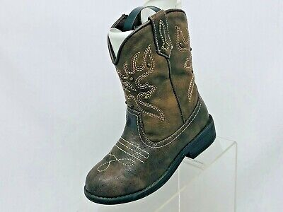 Nina Brown Faux Leather Zip Studded Cowboy Western Boots Girls Size 10 M 26.5 EU