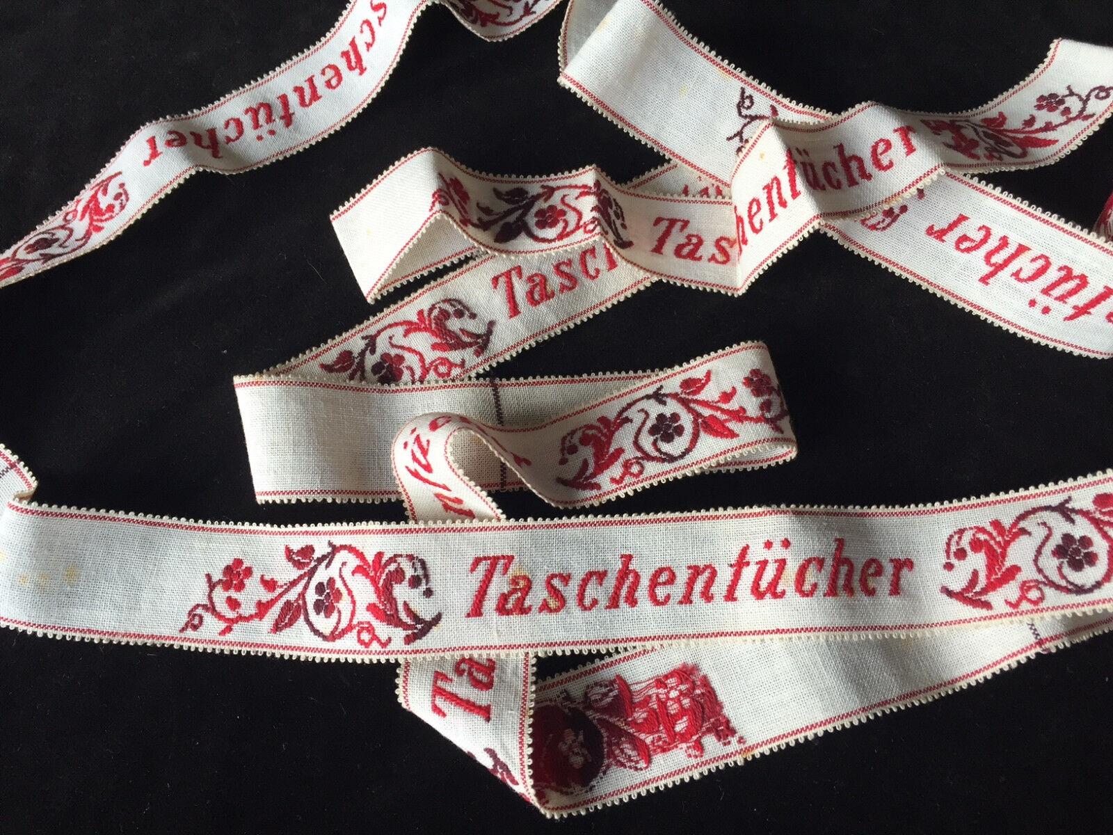 """Rarität 5 x gestickte Wäschebänder """"Taschentücher """" Blüten um 1900"""