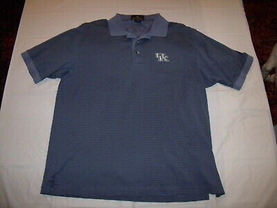Kentucky Wildcats Embroidered Blue/Black Striped Polo Shirt Antigua Men's Medium ()