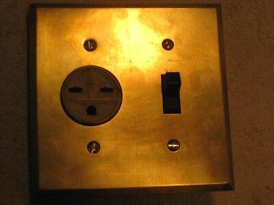 Antique single 220 volt recepticle, ceramic toggle switch and brass cover - Single Toggle Switch Cover Antique