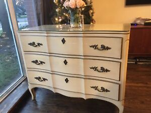 Delivery - antique French dresser with protective glass top.