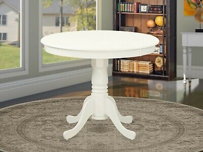 "Antique 36"" small round single pedestal kitchen table in linen white solid wood"