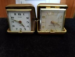 2 Vintage Wind Up Folding Square Face Travel Alarm Clocks- Westclox + Sloan