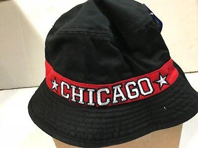 CHICAGO BULLS NBA ADIDAS BLACK BUCKET HAT HAS RED BAND AROUND CENTER SIZE LARGE/