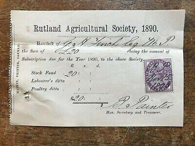 1890 Rt Hon G H Finch MP Receipt - Rutland Agricultural Society Subscription