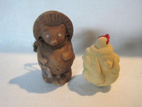 2 Japanese Dorei clay bells, bear and 3 monkeys