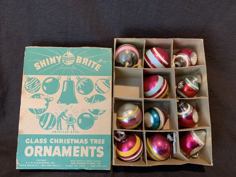 Vintage Shiny Brite Glass Christmas Ornaments Stripped Set of 10 + 1 German BOX