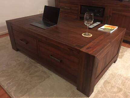 Modern Hardwood Sorrento Style 4 Drawer Coffee Table – Brand New