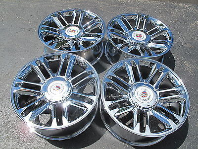 "22"" NEW CADILLAC ESCALADE PLATINUM STYLE CHROME WHEELS 5358 WITH CENTER CAPS"