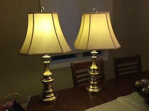 Two matching brass lamps