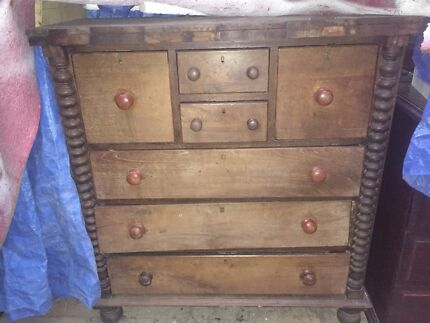 Large vintage timber chest of drawers needs work