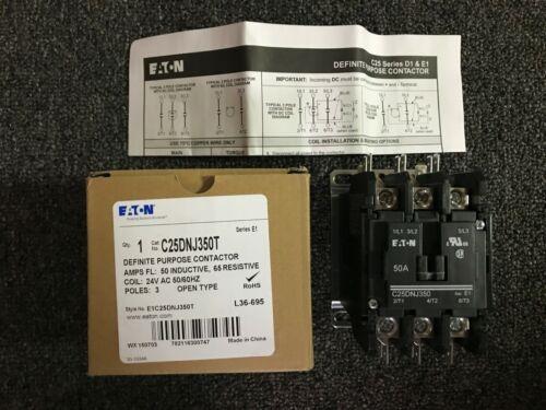 Eaton Cutler Hammer Definite Purpose Contactor C25DNJ350T 3P 50A 24VAC Coil NEW