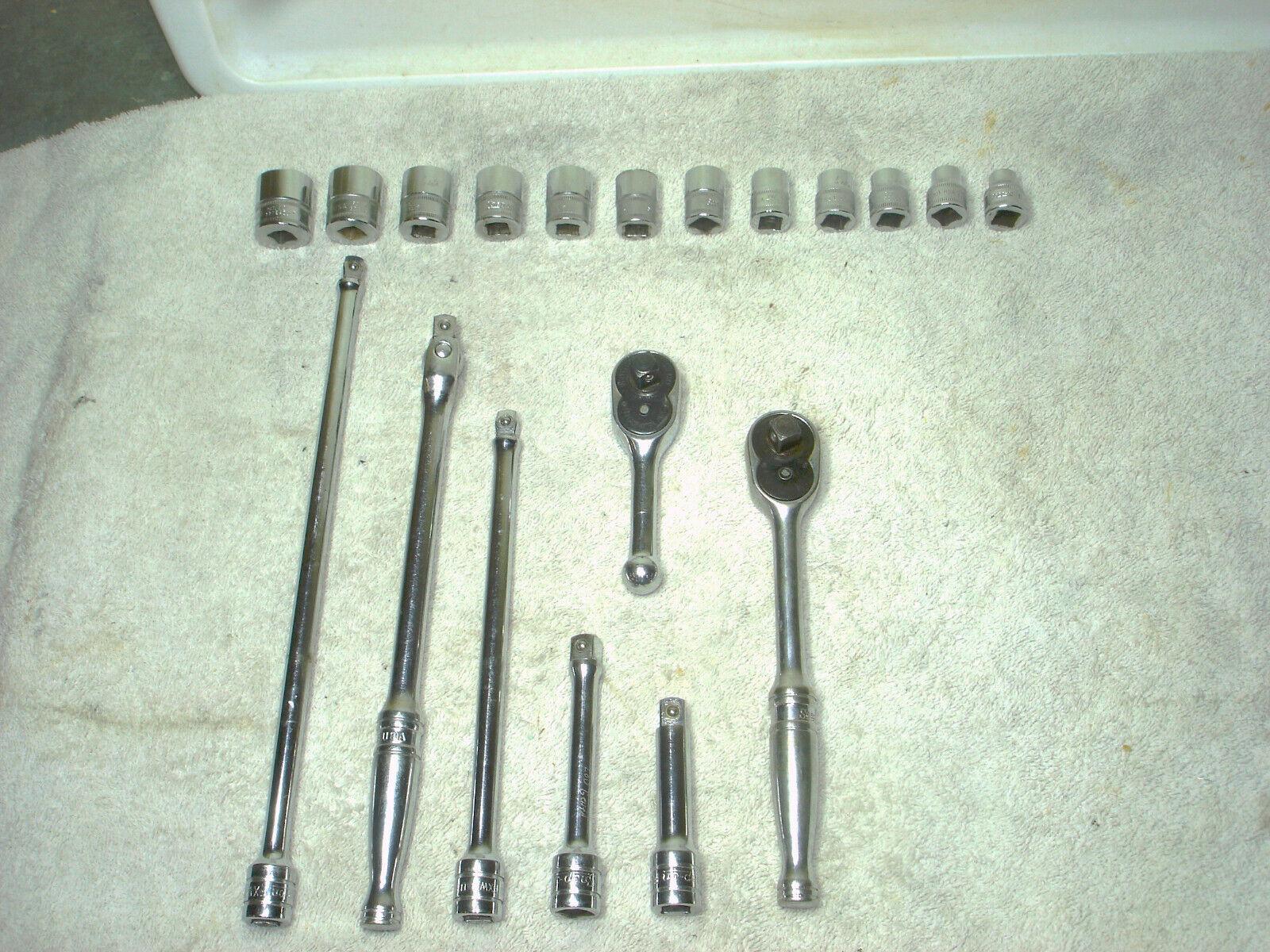 19 Pc. Lot Snap On 12 Point Metric Socket / Ratchet Set  3/8 Drive + Exstensions