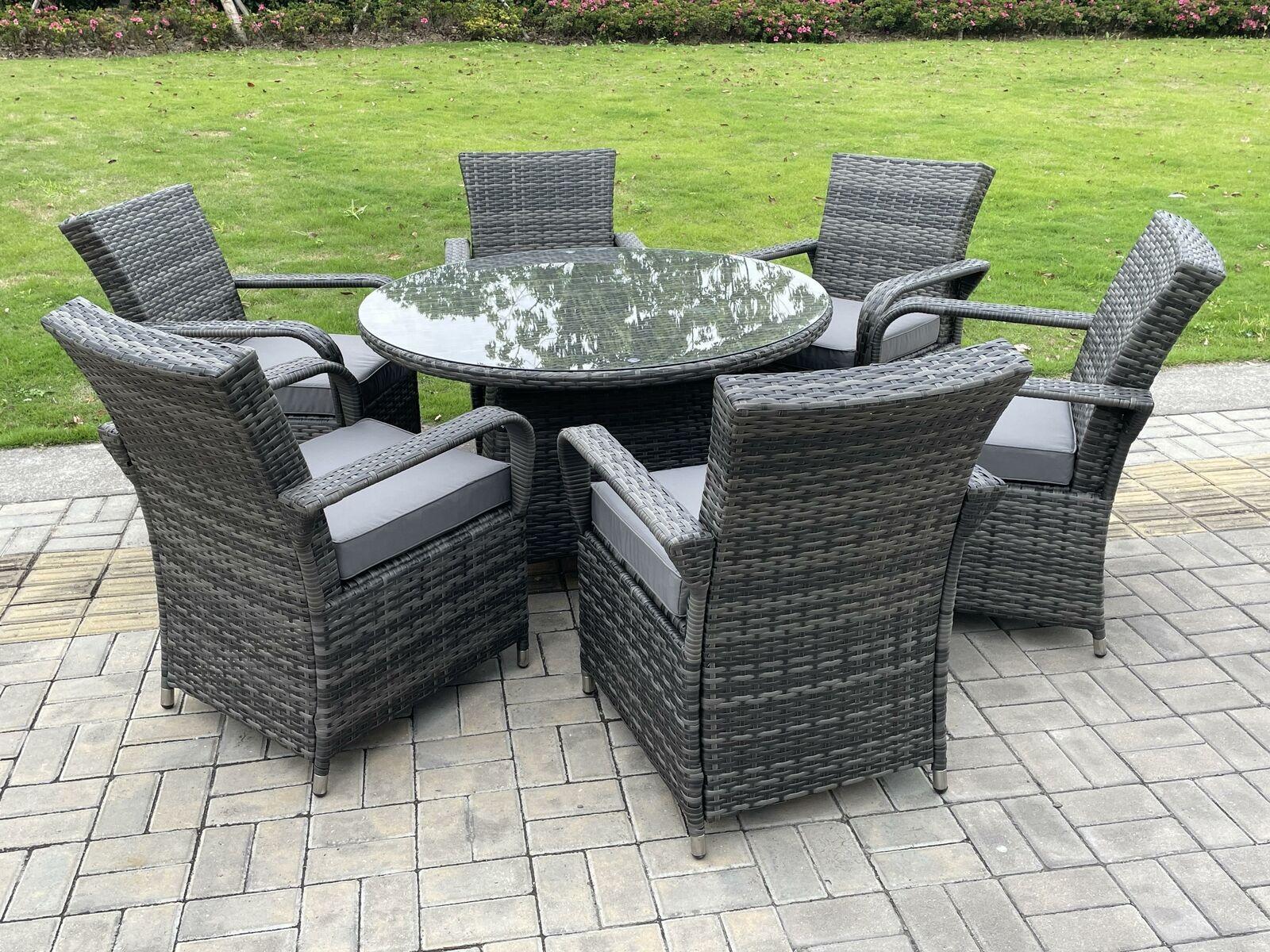 Garden Furniture - Dark Grey Mix Rattan Garden Furniture Dining Sets Outdoor Patio