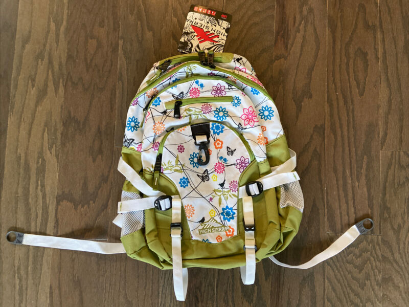 New With Tags HIGH SIERRA Green White Floral Backpack