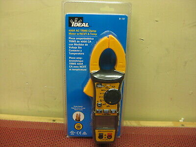 Ideal 61-747 Digital 400a Acdc Trms Clamp Meter Leads Multimete New Sealed