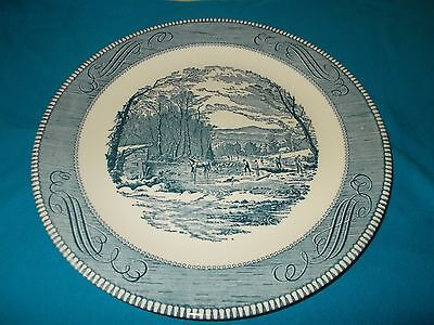 CURRIER AND IVES BLUE AND WHITE ROYAL CHINA PLATTER 12 INCH