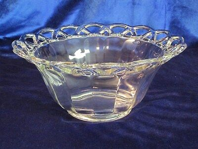 Crocheted Crystal serving bowl in clear glass w/beautiful lacy edge decoration Bowl In Crystal