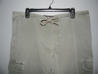 vtg 90's ABERCROMBIE & FITCH cargo utility drawstring pants women's Large olive