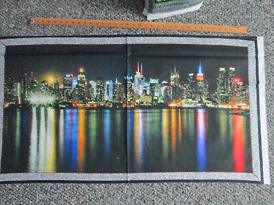 NYC NEW YORK SKYLINE DIGITAL COLORS COTTON FABRIC PANEL -