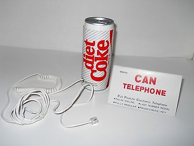 Diet Coke Can Telephone Collectible By Arrow W/Chord, Never Used - Coca Cola