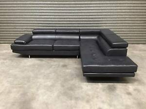 NEW L-SHAPE SOFA: ECLIPSE IN BLACK SLEEK DESIGN SMART LOOK Leumeah Campbelltown Area Preview