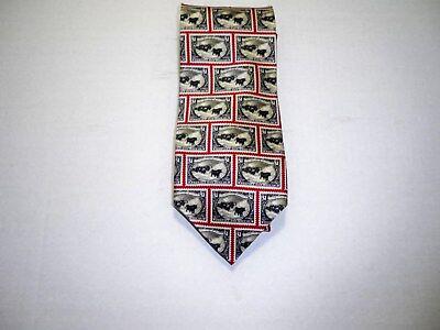 Museum Artifacts Wild Horse $1 Stamp 100% Silk Tie Red White Black NWT
