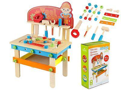 Kinderwerkbank Werkzeugbank Holzspielzeug mit Zubehör GS0040 Werkbank Spielzeug