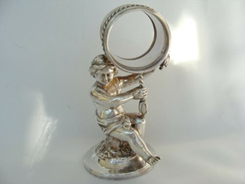 "Antique Victorian Reed Barton Silverplate Putti Cherub Napkin Ring 4.75"""