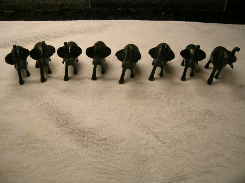 Herd of 8 Metal 3 Inch Elephant Place Card Holders