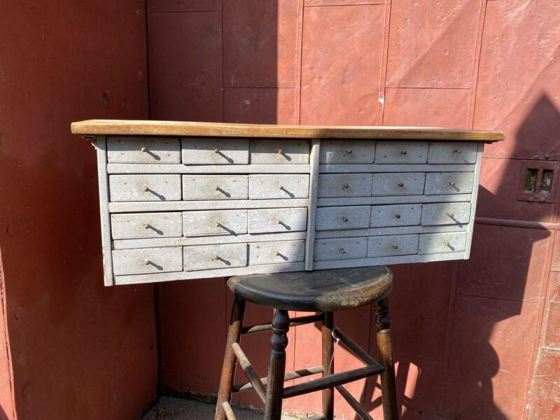 1930s 24 Drawer Apothecary Multi Drawer Cabinet Cigar Box Folk Art Primitive