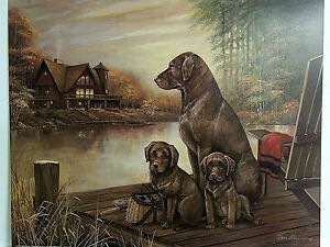 CHOCOLATE LAB DOG PICTURE LAB PUPPIES FISHING GEAR HUNTING CABIN ART PRINT16X20
