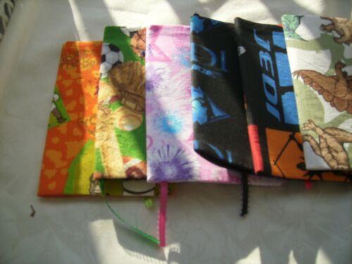 "Handmade fabric bookcovers 4"" x 7"""