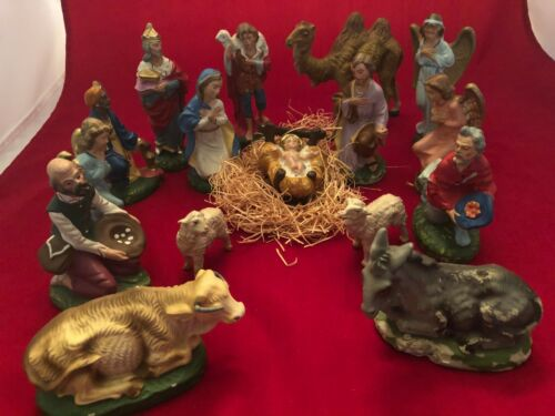 Vintage 16 Piece Lot Nativity Figurines Paper Mache Plaster Made in Italy