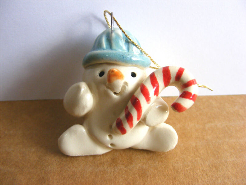 Little Guys Snowman With Candy Cane Christmas Ornament Miniature Cindy Pacileo