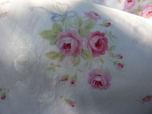 Yuwa Sweet Roses and Bows White Damask Fabric Light weight Soft Hand BTY