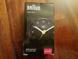 BRAUN BC02XB Black Travel Alarm Clock Analogue NIB New Classic Quartz New