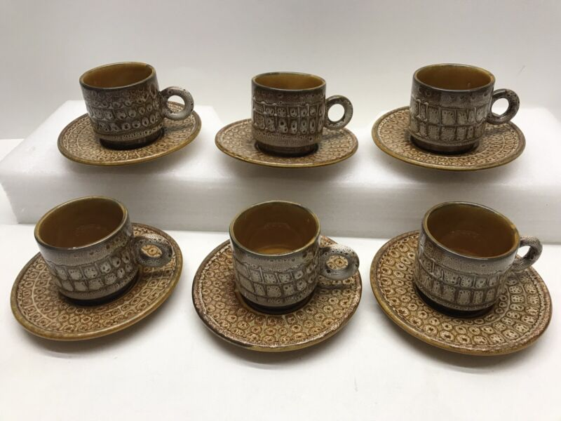 Vintage Ceramic LAVENO Italy Espresso Demitasse 6 Cup & Saucer Set - Brown/Gold