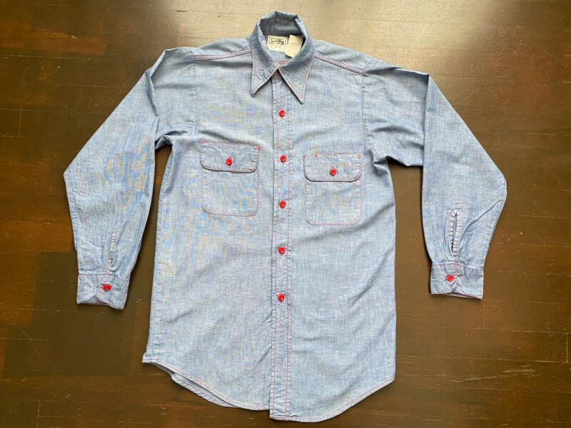 Vintage Sun Valley Sport King Blue Chambray Shirt Fits Mens Small USA 70s 80s