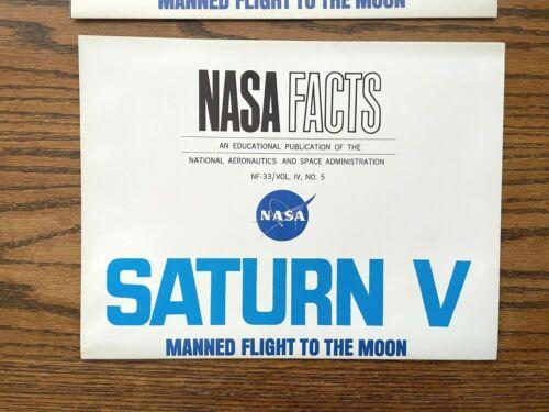 "1967 NASA FACTS Apollo SATURN V Flight to the Moon Educational Poster  32"" x 21"""