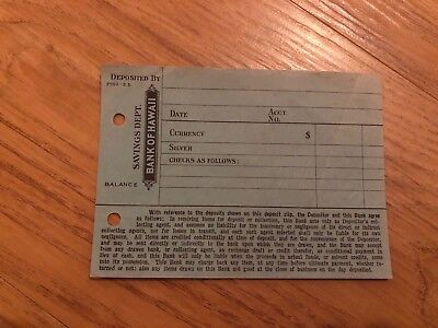 Mint Condition Vintage Bank of Hawaii Deposit Slip Rare